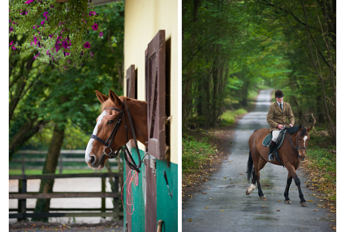 Stables; riding path
