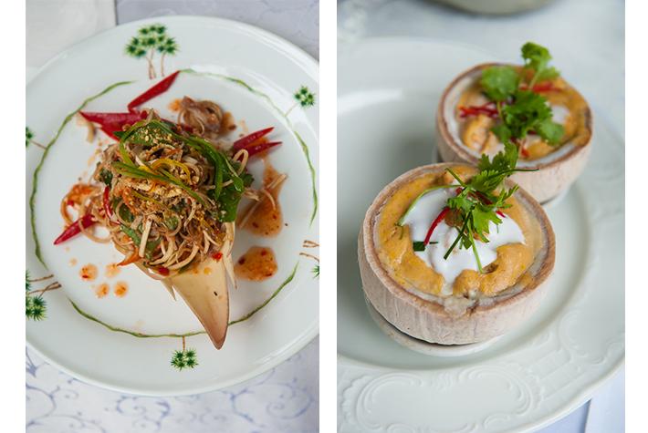 Raffles Phnom Penh - banana flower salad, amok