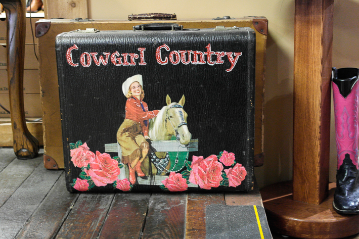 Cowgirl suitcase, ML Leddy's Fort Worth