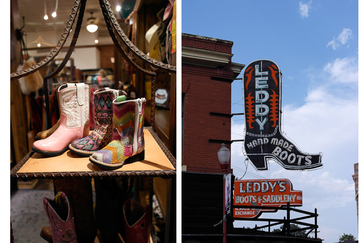 Stocking up on boots at ML Leddy's, Fort Worth, Texas