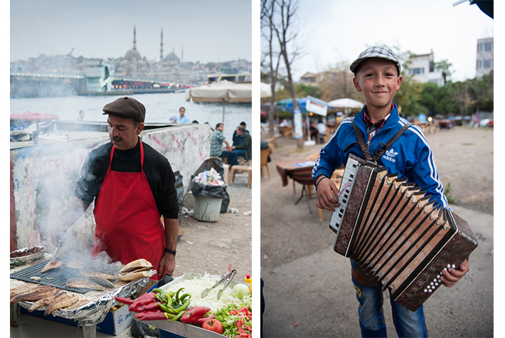 fish sandwich at Galata bridge with entertainment