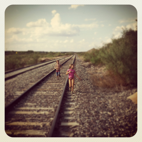 Playing on the tracks off Casa Piedra