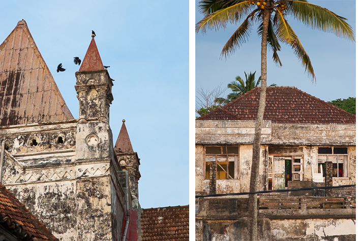 Church, waterfront house, Galle Fort, Sri Lanka