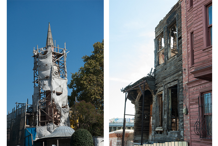 Spire under restoration; timber house, Istanbul, Turkey