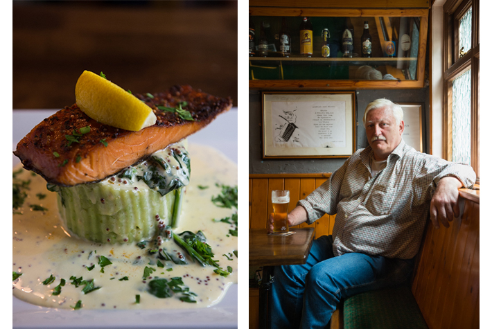 Roadside Tavern salmon dish and Peter Curtin.