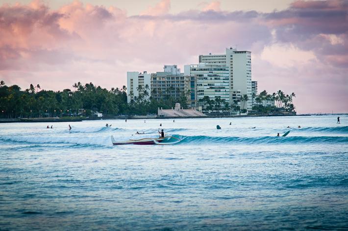 outrigger at dawn on Waikiki