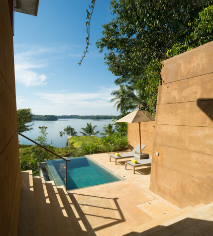 plunge pool overlooking lake