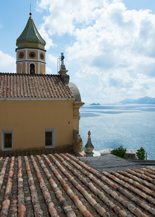 church at Priano, Capri in the extreme distance