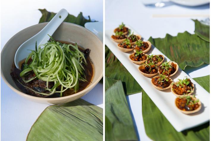 Sichuan eggplant with cucumber, mini tarts