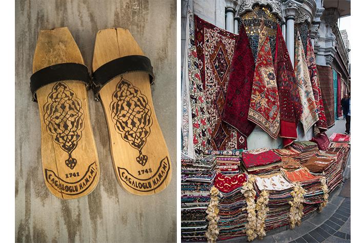hamam sandals, rugs