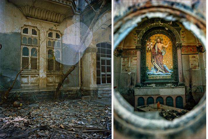 Abandoned street, Mumbai; mausoleum, Vukovar, Croatia
