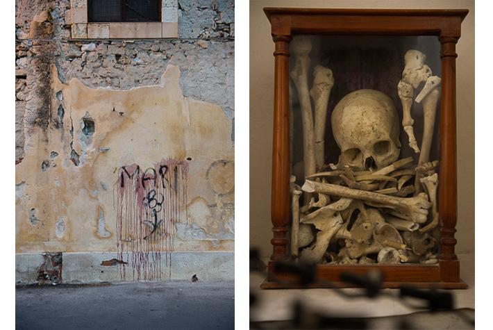Graffiti, Ortigia, Sicily; relics, chapel, Monteverdi, Tuscany