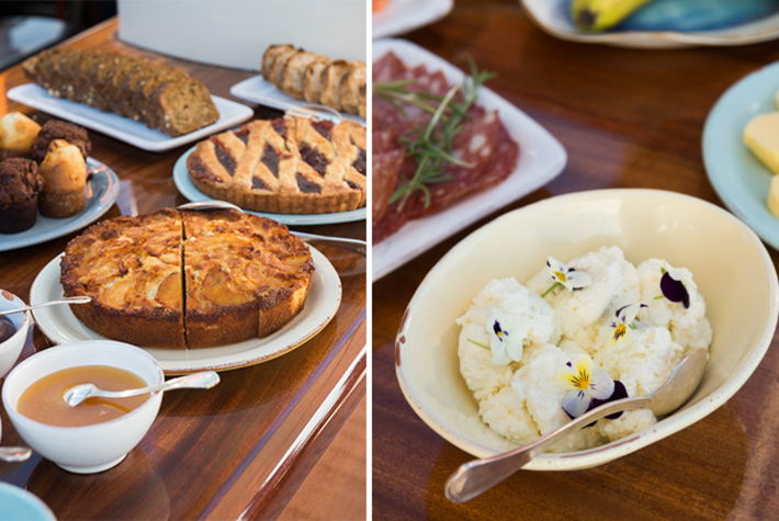 Pastries and cheeses for breakfast.