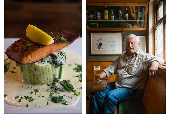 Roadside Tavern salmon dish and Peter Curtin.
